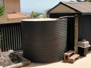 Painted round steel tank